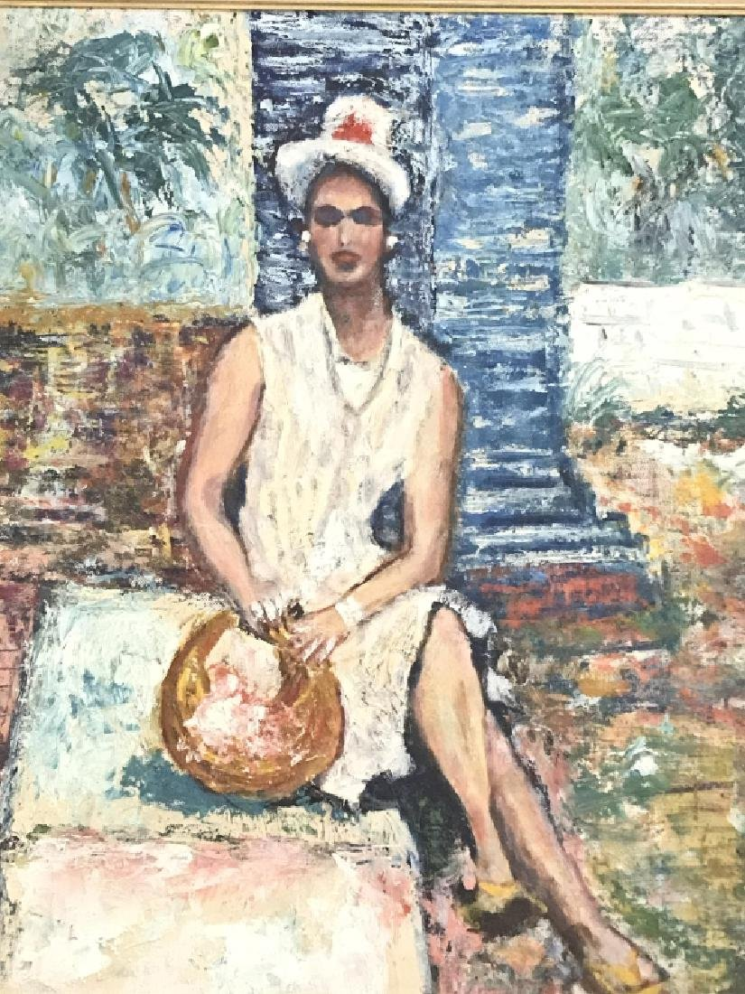Framed Painting Sitting Woman - 2