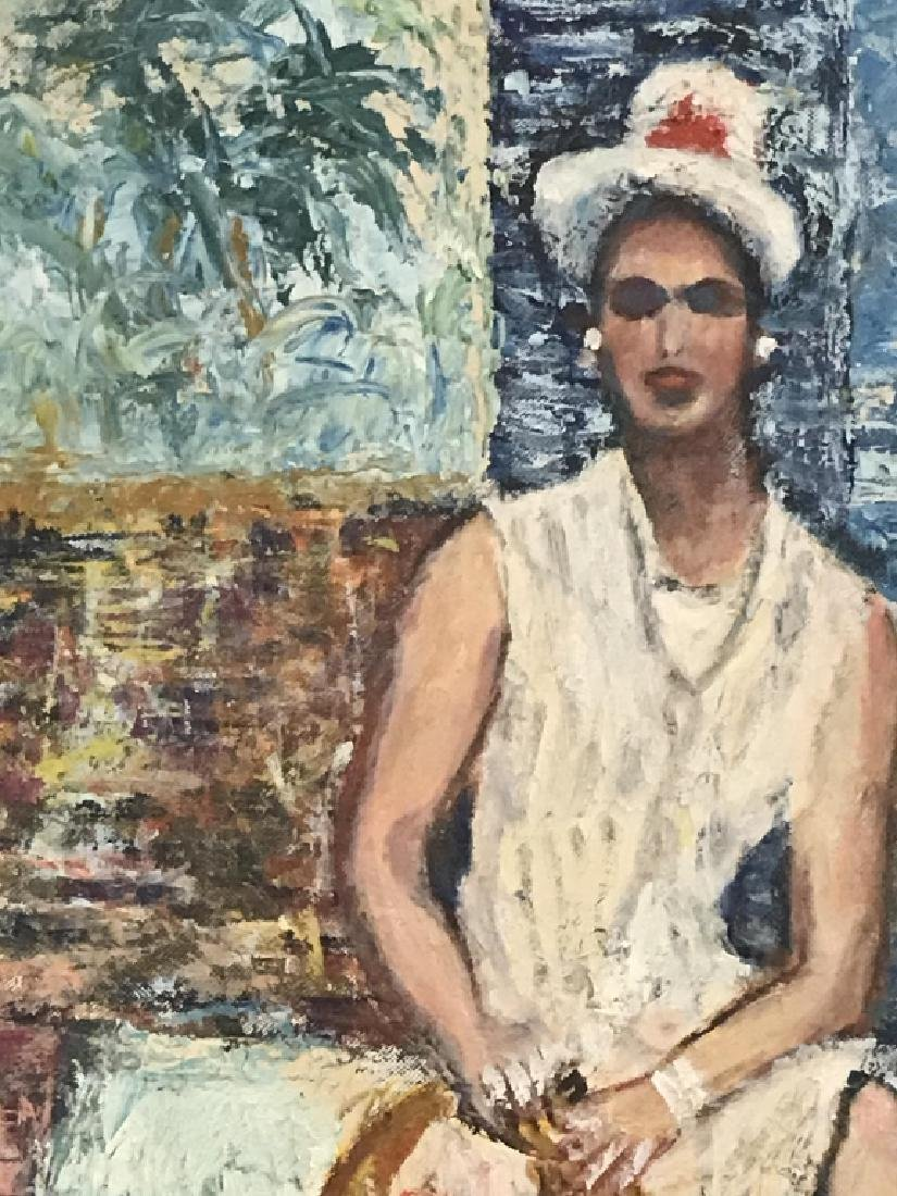 Framed Painting Sitting Woman - 3
