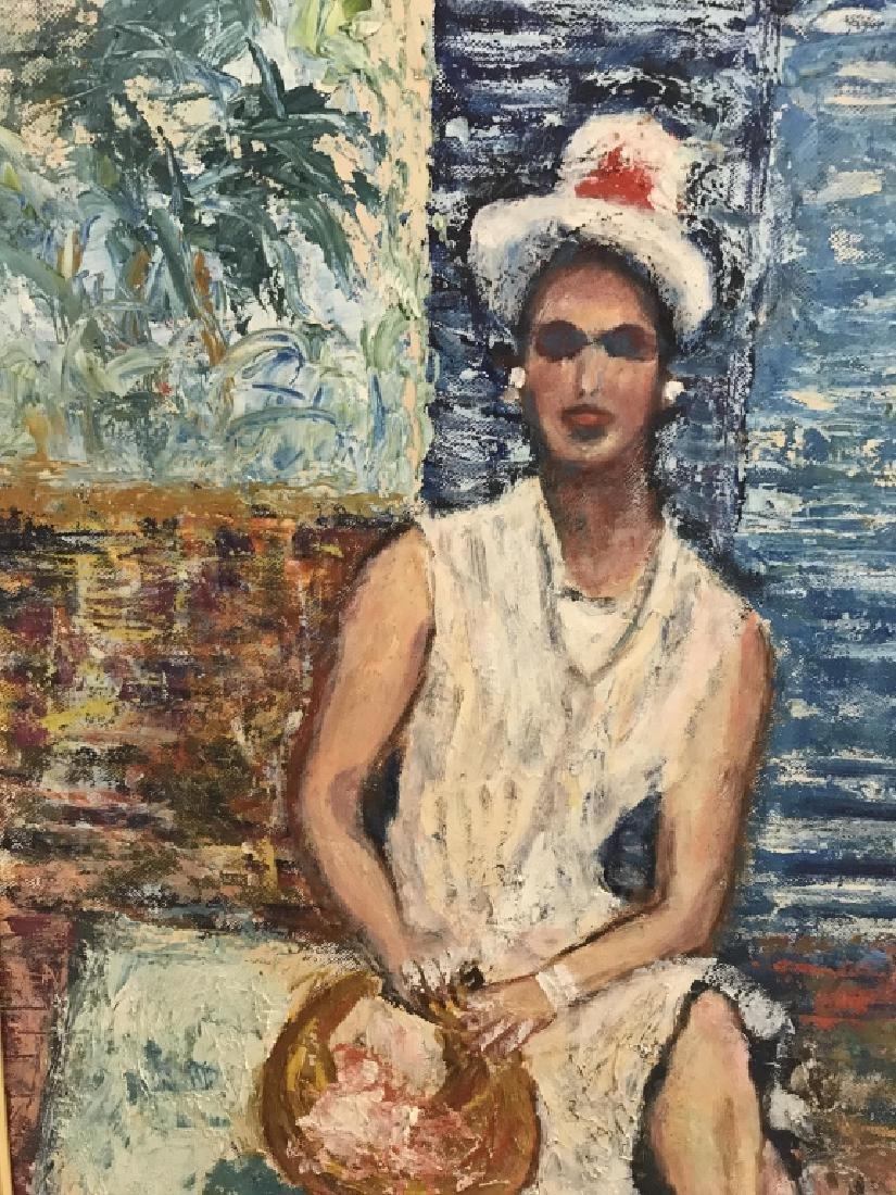 Framed Painting Sitting Woman - 4