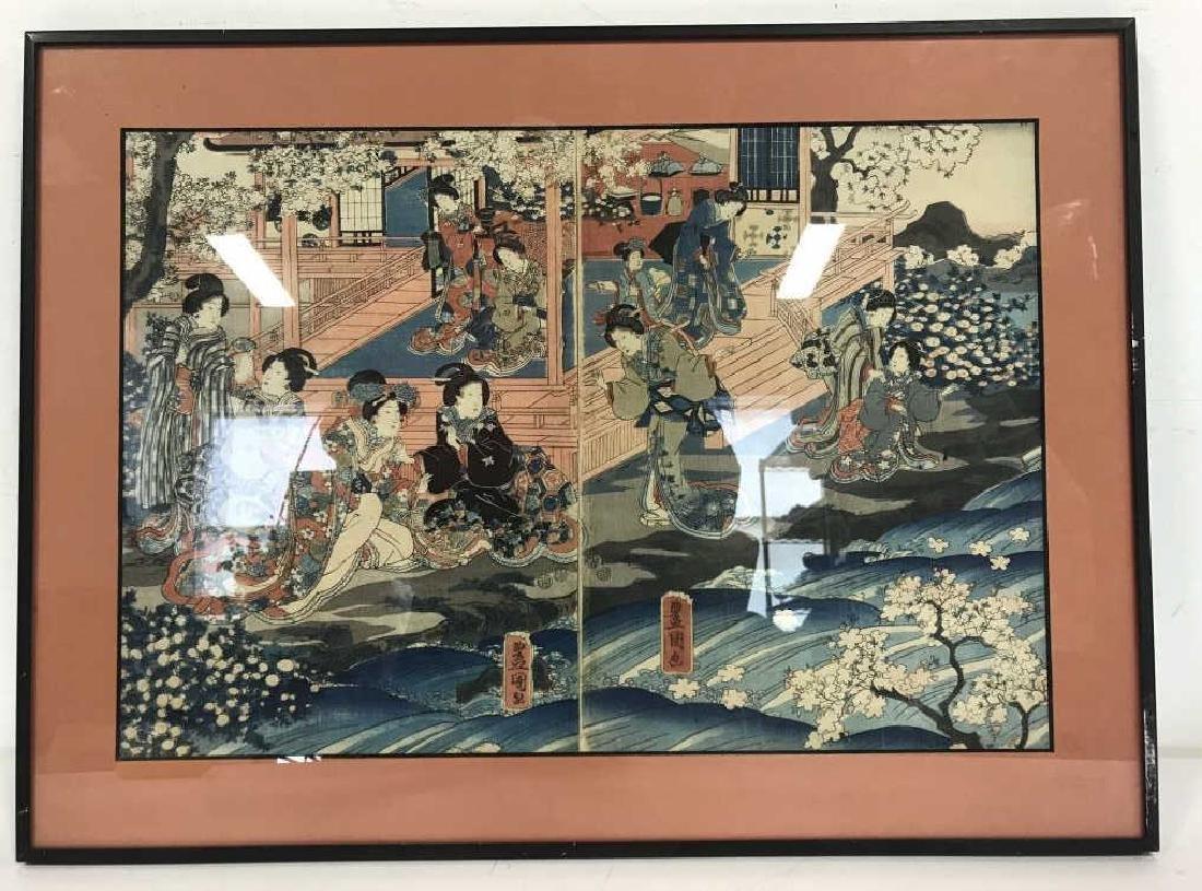 Framed Kunisada Japanese Dyptych Prints
