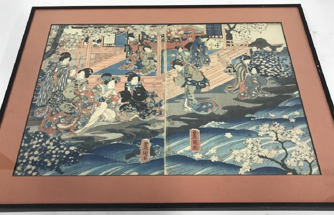 Framed Kunisada Japanese Dyptych Prints - 2