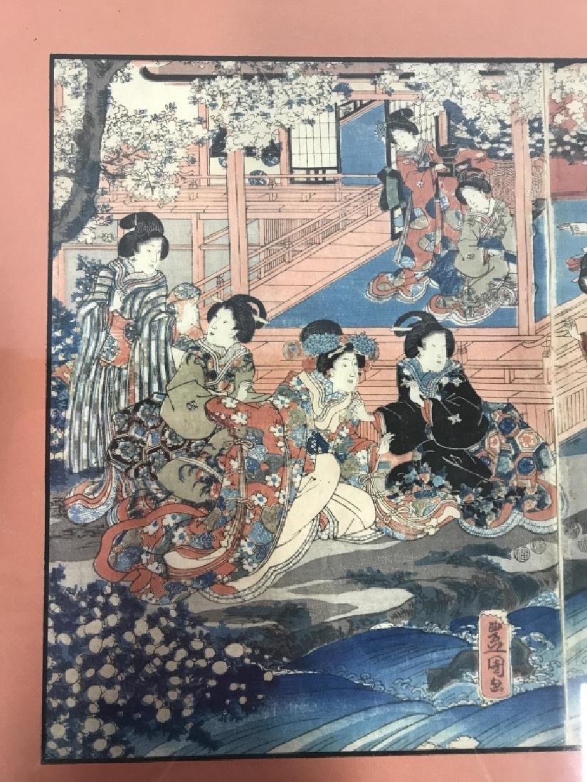 Framed Kunisada Japanese Dyptych Prints - 3