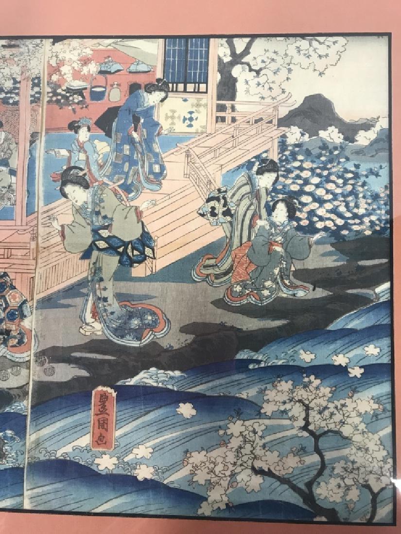 Framed Kunisada Japanese Dyptych Prints - 4