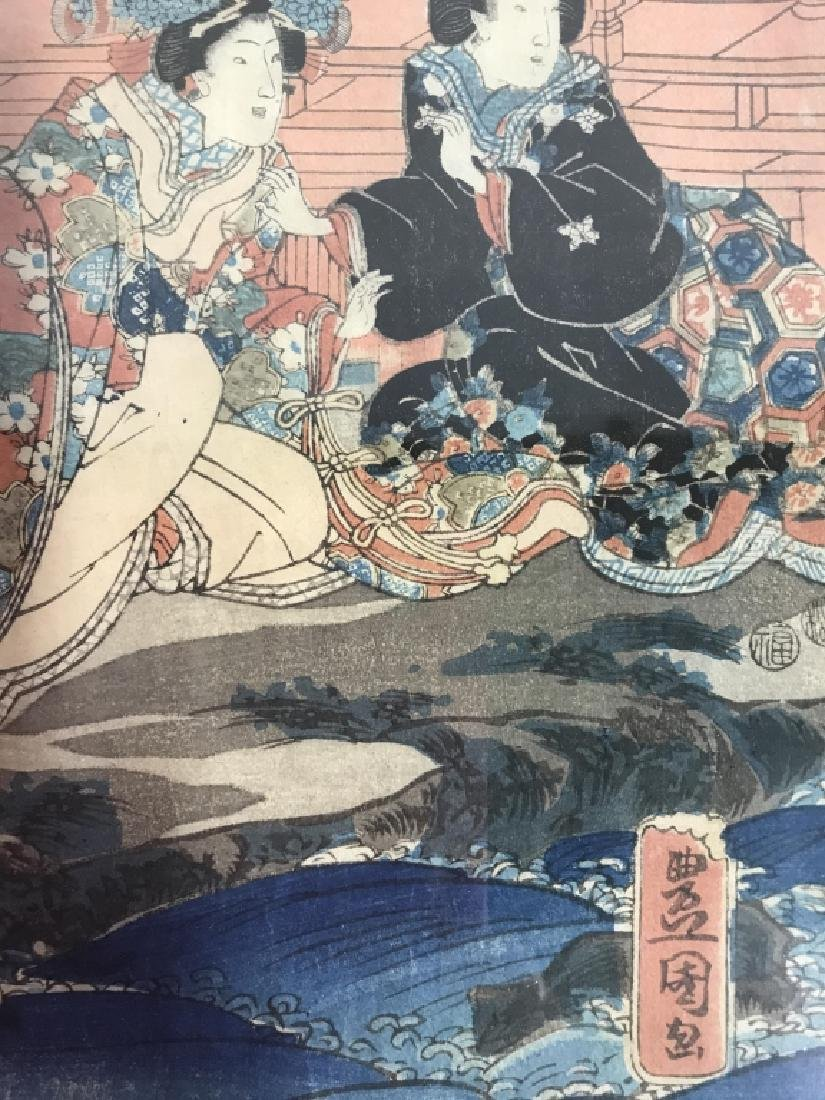 Framed Kunisada Japanese Dyptych Prints - 5