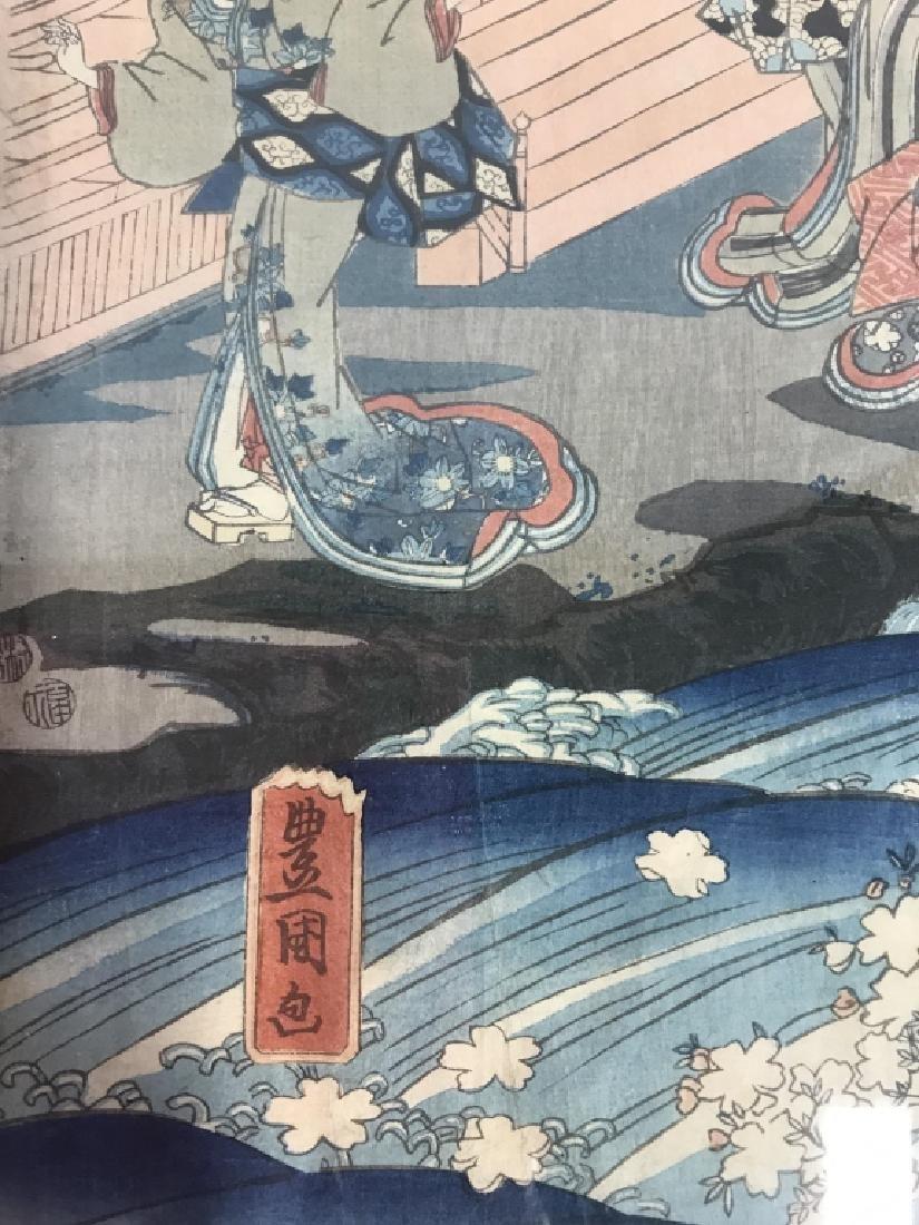 Framed Kunisada Japanese Dyptych Prints - 6