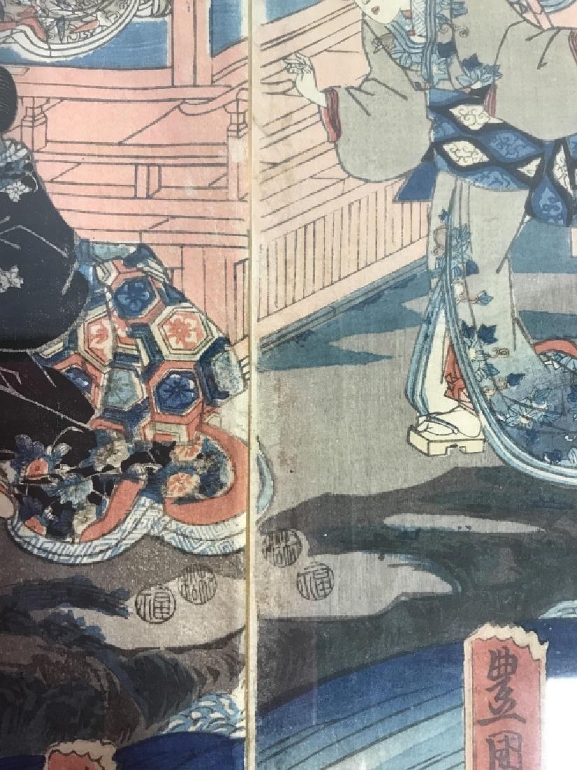 Framed Kunisada Japanese Dyptych Prints - 7