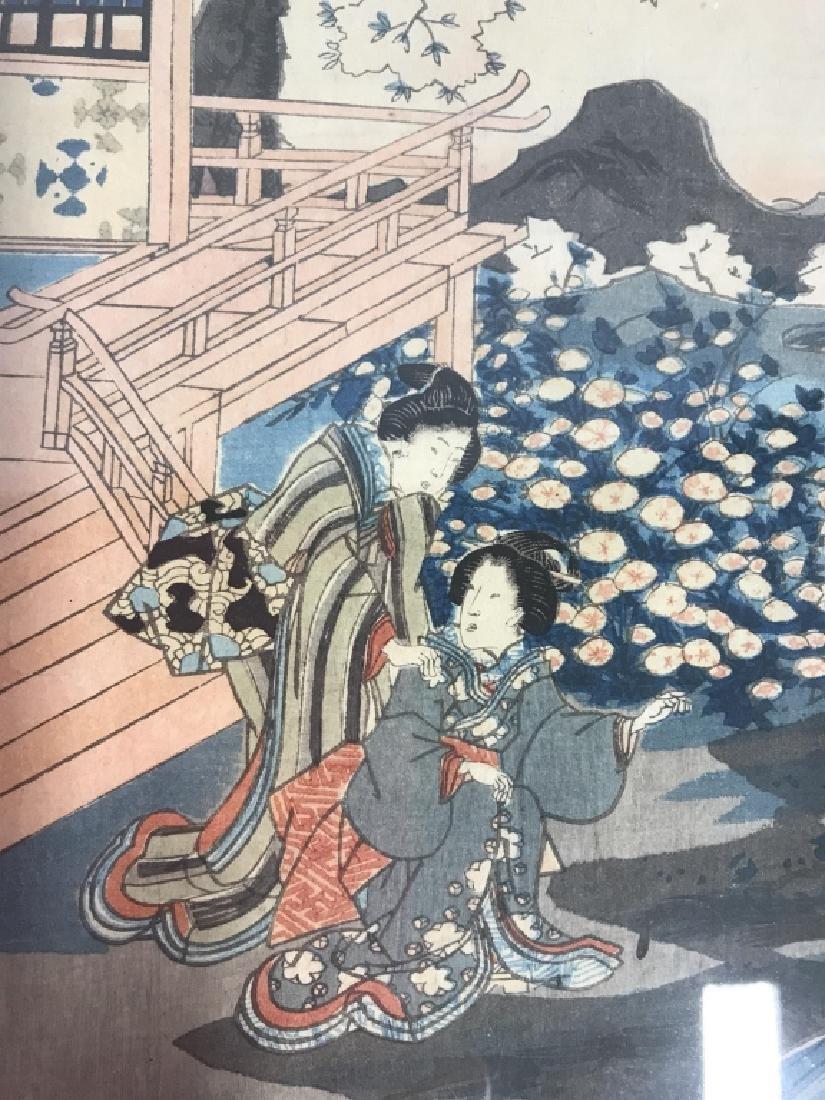 Framed Kunisada Japanese Dyptych Prints - 8