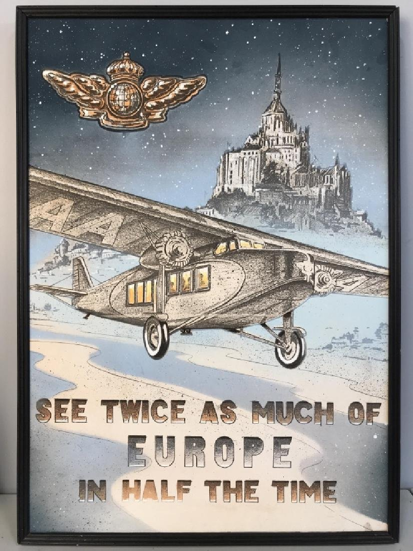 Vintage Framed Airplane Artwork