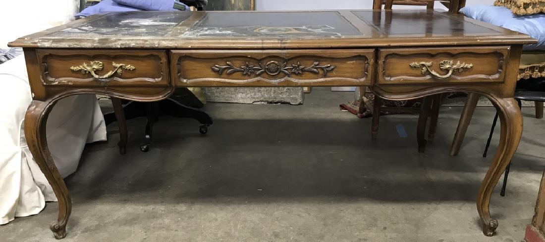 Vintage Carved Wooden Desk W Poss Leather Top