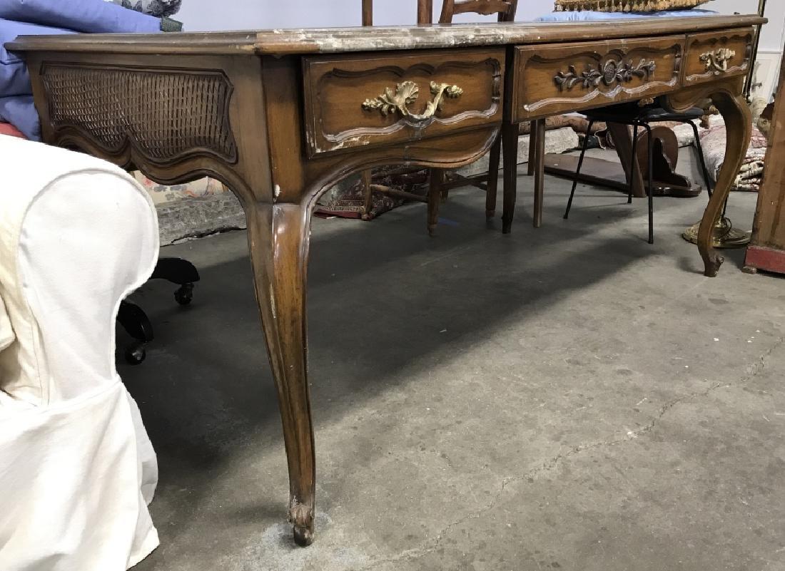 Vintage Carved Wooden Desk W Poss Leather Top - 3