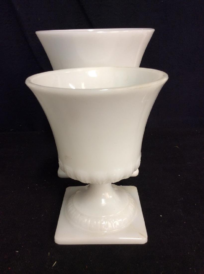 Pair Milk Glass Pedestal Planters - 2