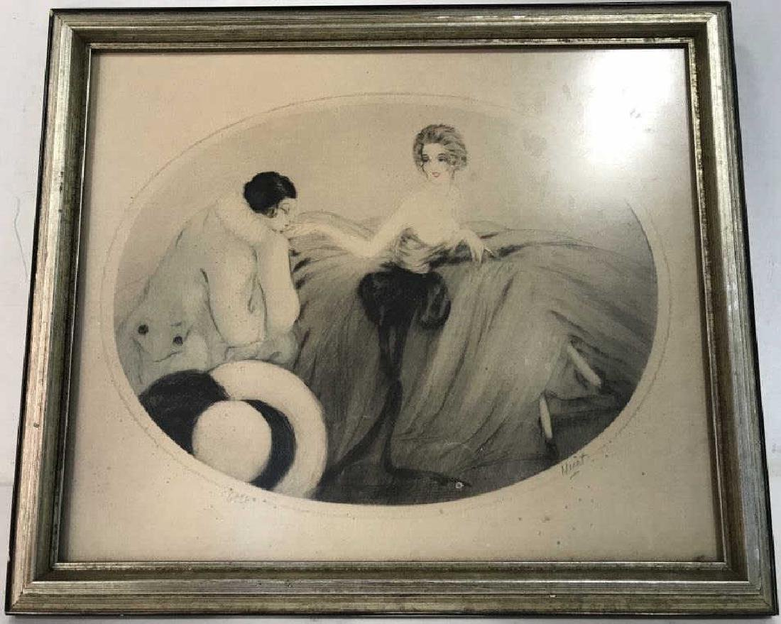 Framed and Signed Vintage Drawing of 2 Figures