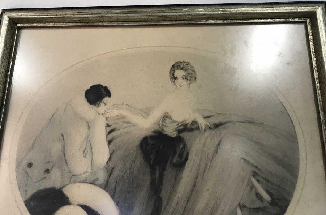 Framed and Signed Vintage Drawing of 2 Figures - 6