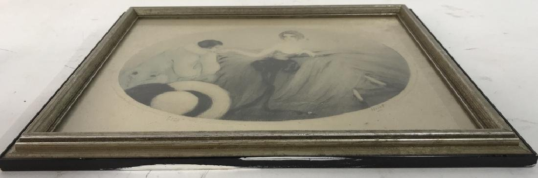 Framed and Signed Vintage Drawing of 2 Figures - 7