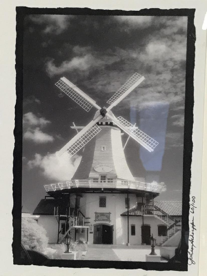 Framed and Signed B&W Photograph of Windmill
