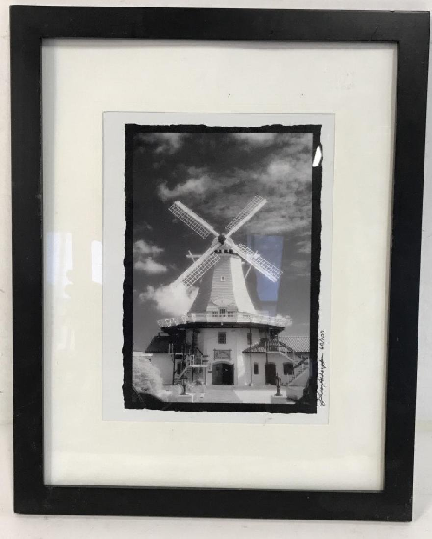 Framed and Signed B&W Photograph of Windmill - 2