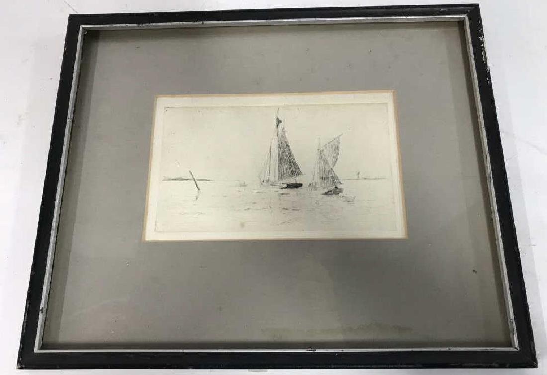 Framed Printed Etching of Sailboats