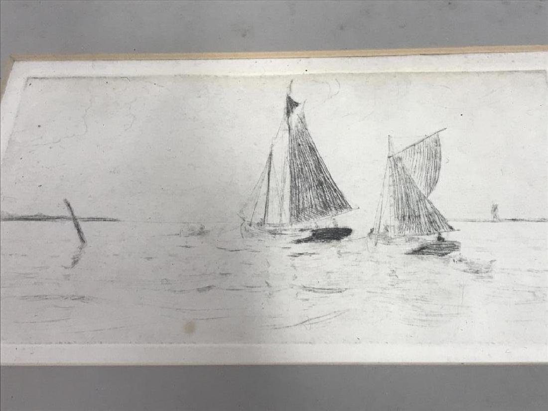 Framed Printed Etching of Sailboats - 2
