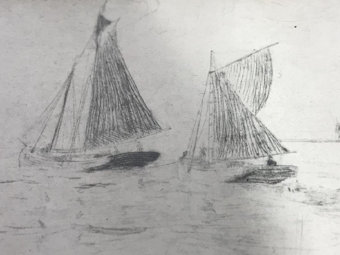 Framed Printed Etching of Sailboats - 3