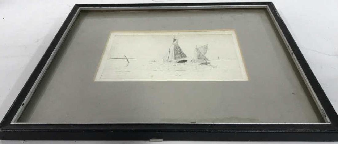 Framed Printed Etching of Sailboats - 4