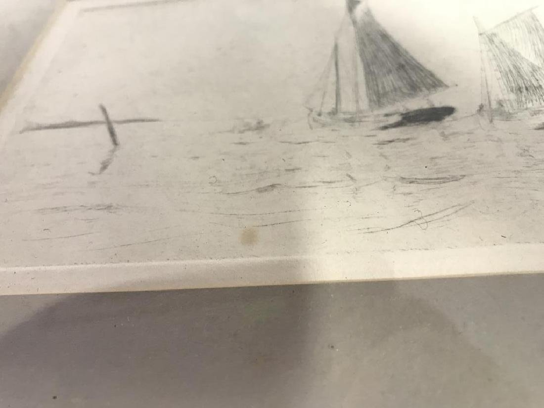 Framed Printed Etching of Sailboats - 6