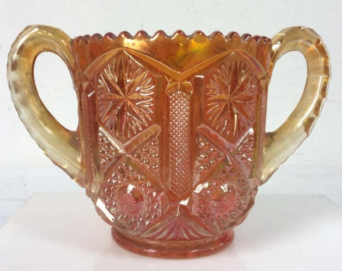 Carnival Glass Handled Vessel