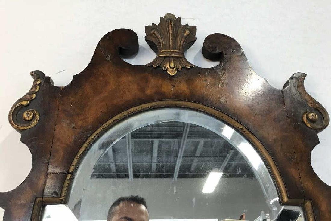 Carved Burl Wood Frame Mirror