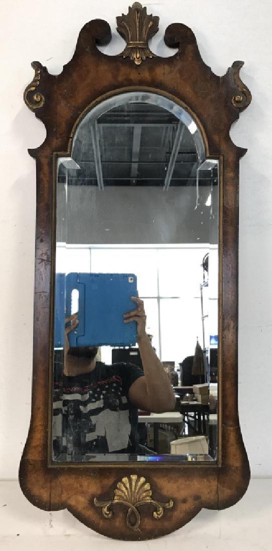 Carved Burl Wood Frame Mirror - 2