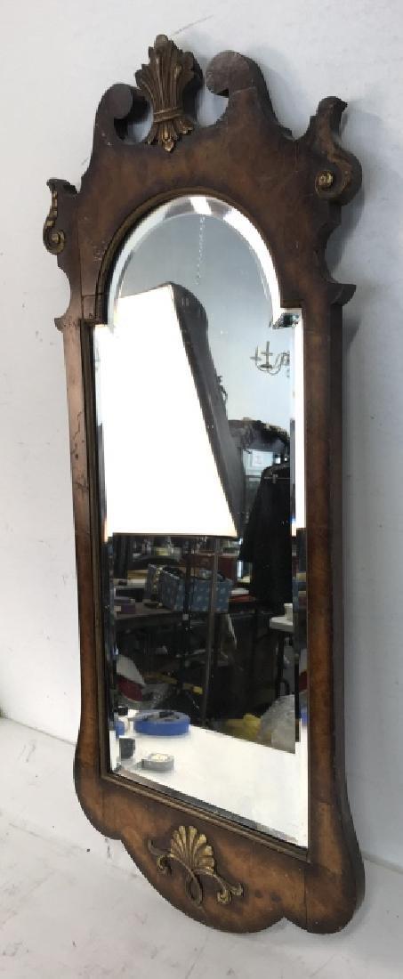 Carved Burl Wood Frame Mirror - 6