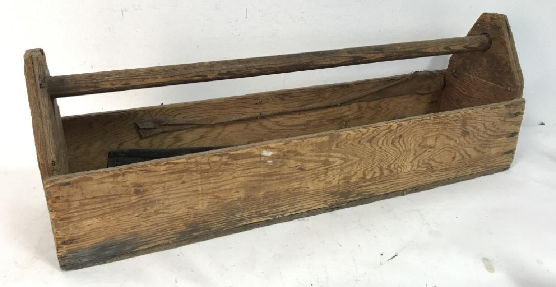 Large Vintage Pos Antique Wooden Tool Box