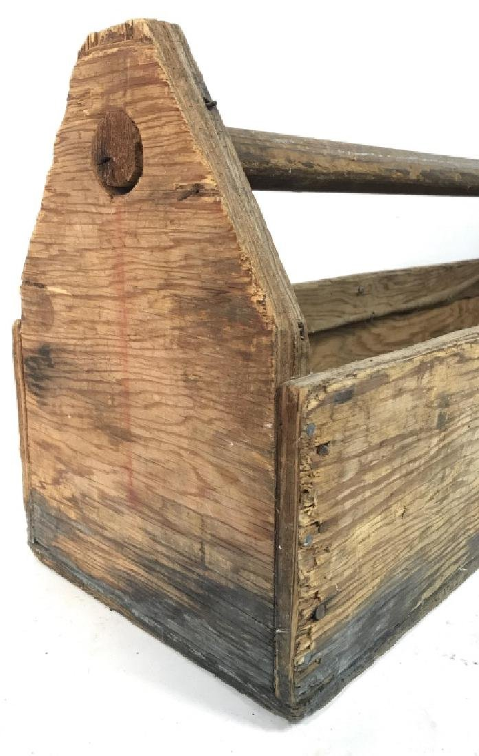 Large Vintage Pos Antique Wooden Tool Box - 4