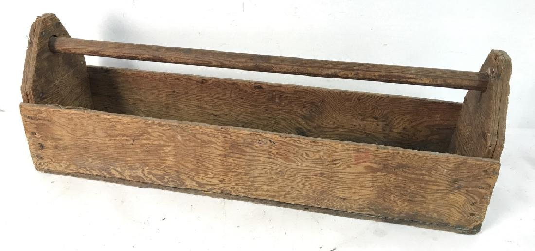 Large Vintage Pos Antique Wooden Tool Box - 5