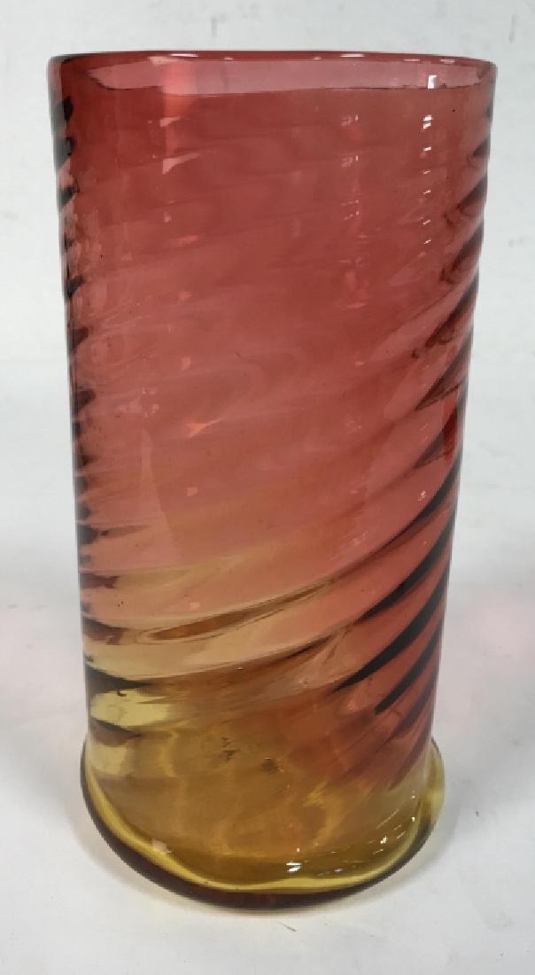 Yellow Pink Art Glass Swirl vase