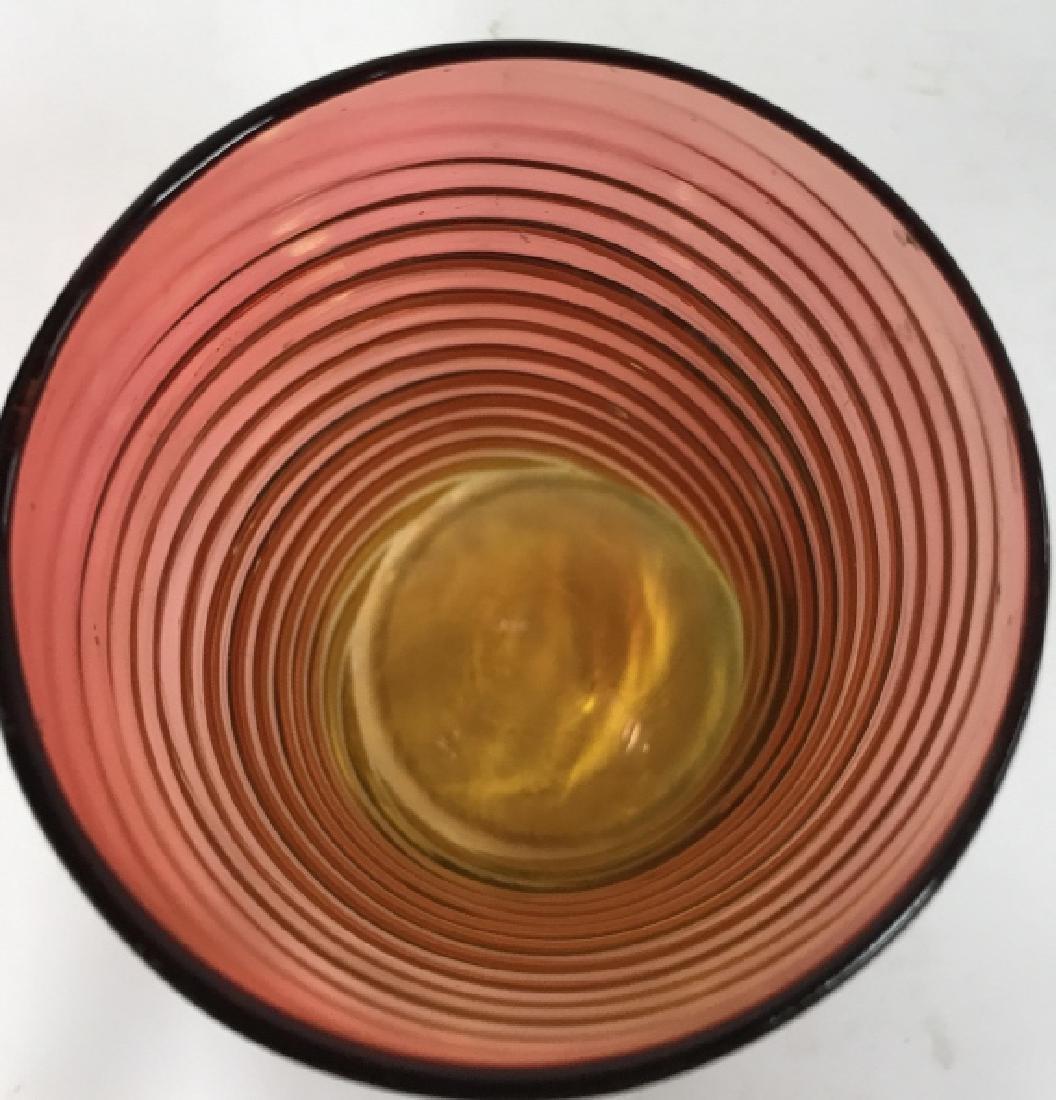 Yellow Pink Art Glass Swirl vase - 3