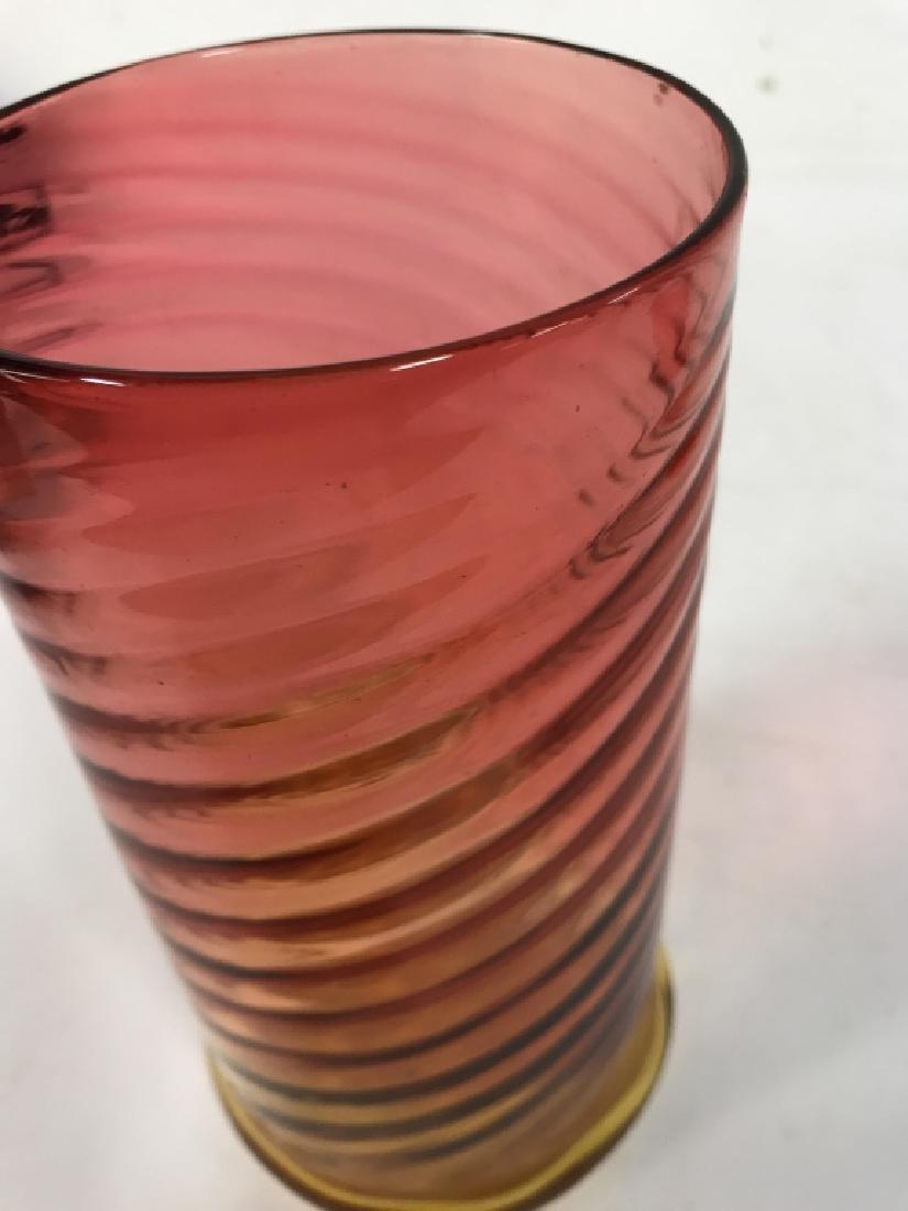Yellow Pink Art Glass Swirl vase - 4