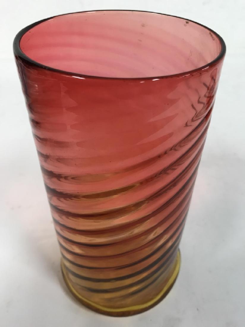 Yellow Pink Art Glass Swirl vase - 5