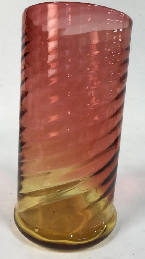 Yellow Pink Art Glass Swirl vase - 6