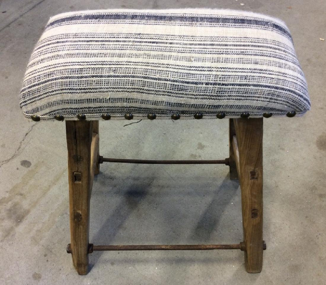 Pair of Rustic LILLIAN AUGUST Cushioned Stools - 10