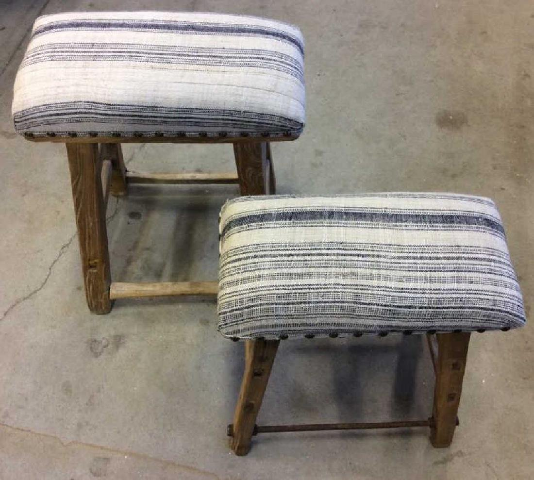 Pair of Rustic LILLIAN AUGUST Cushioned Stools
