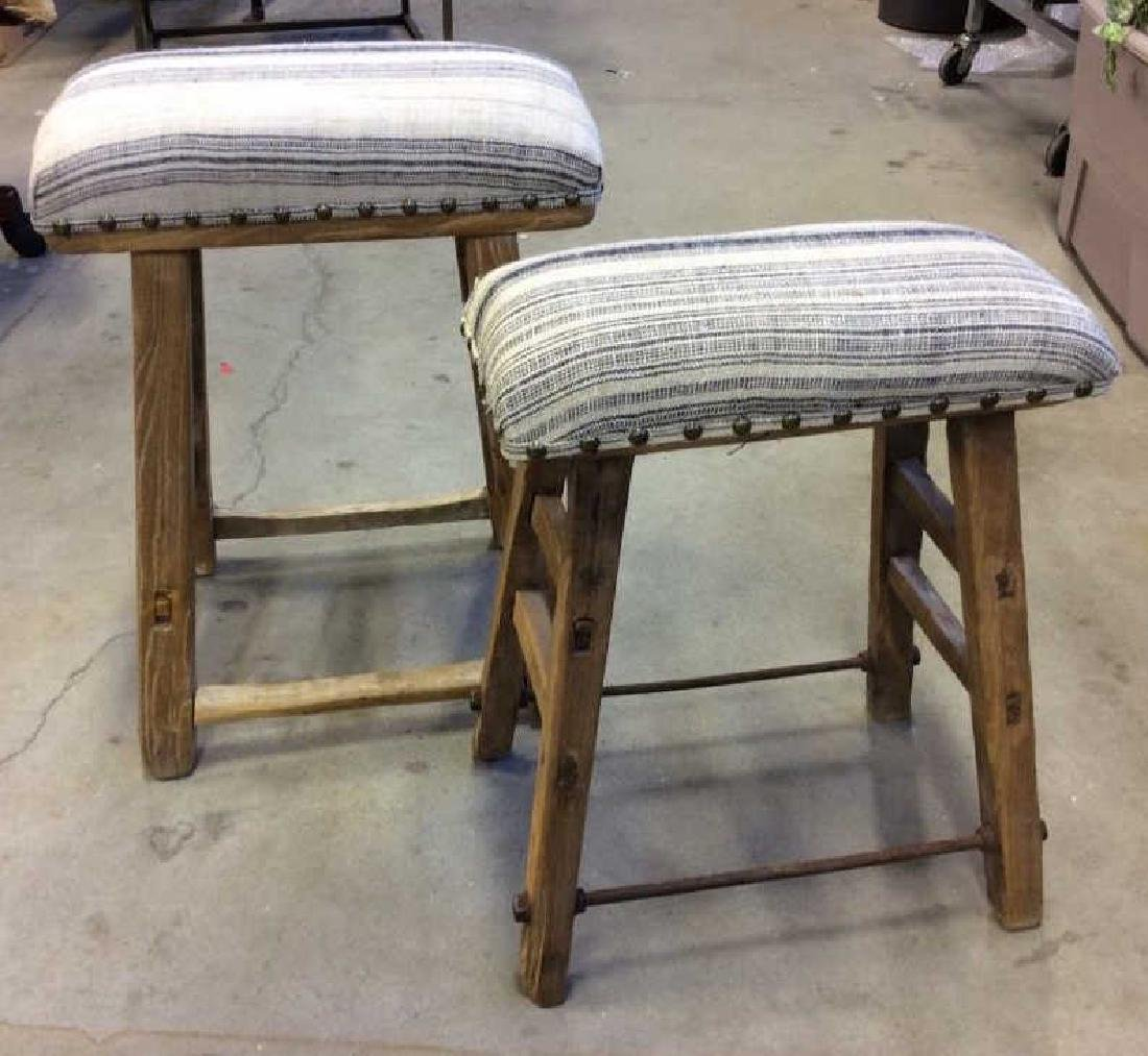 Pair of Rustic LILLIAN AUGUST Cushioned Stools - 2