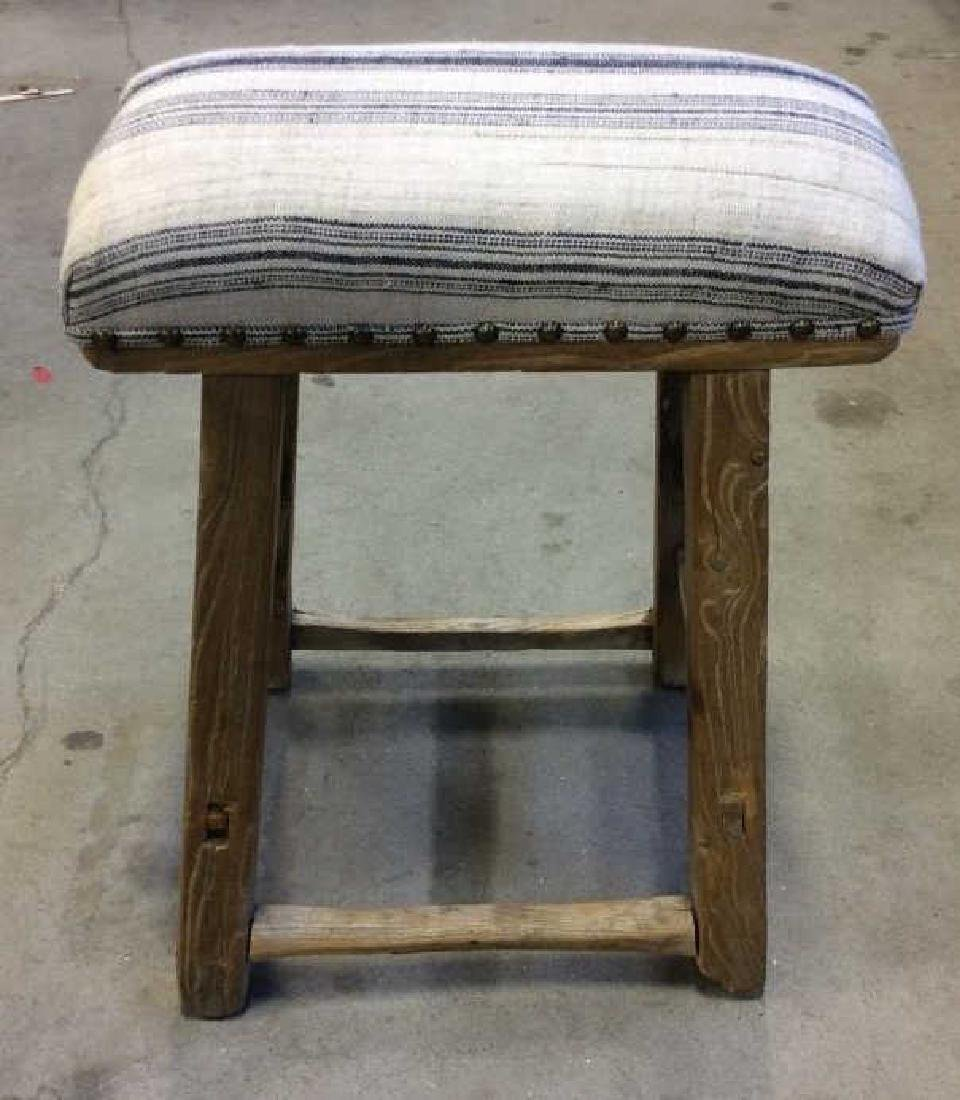 Pair of Rustic LILLIAN AUGUST Cushioned Stools - 3