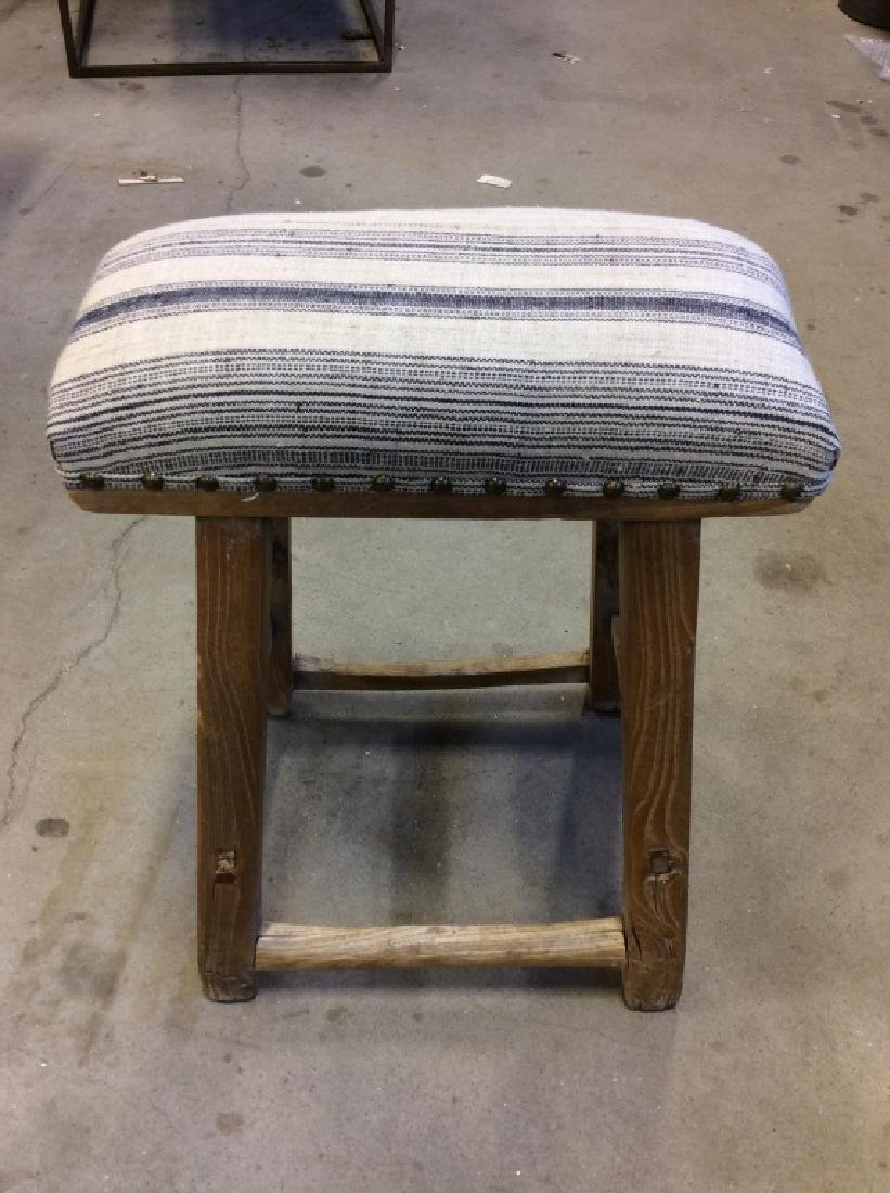 Pair of Rustic LILLIAN AUGUST Cushioned Stools - 6
