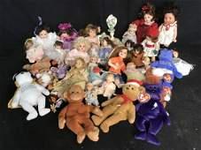 Large Collection Porcelain Dolls Beanie Babies