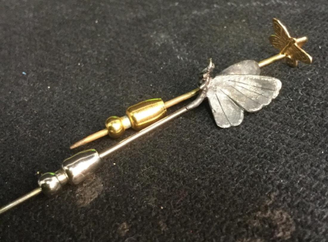 2 Stick Pins Silver And Gold Butterflies - 2