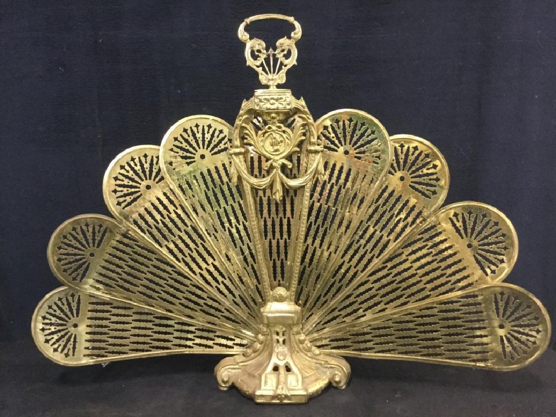 Victorian Brass Fireplace Ornament Screen