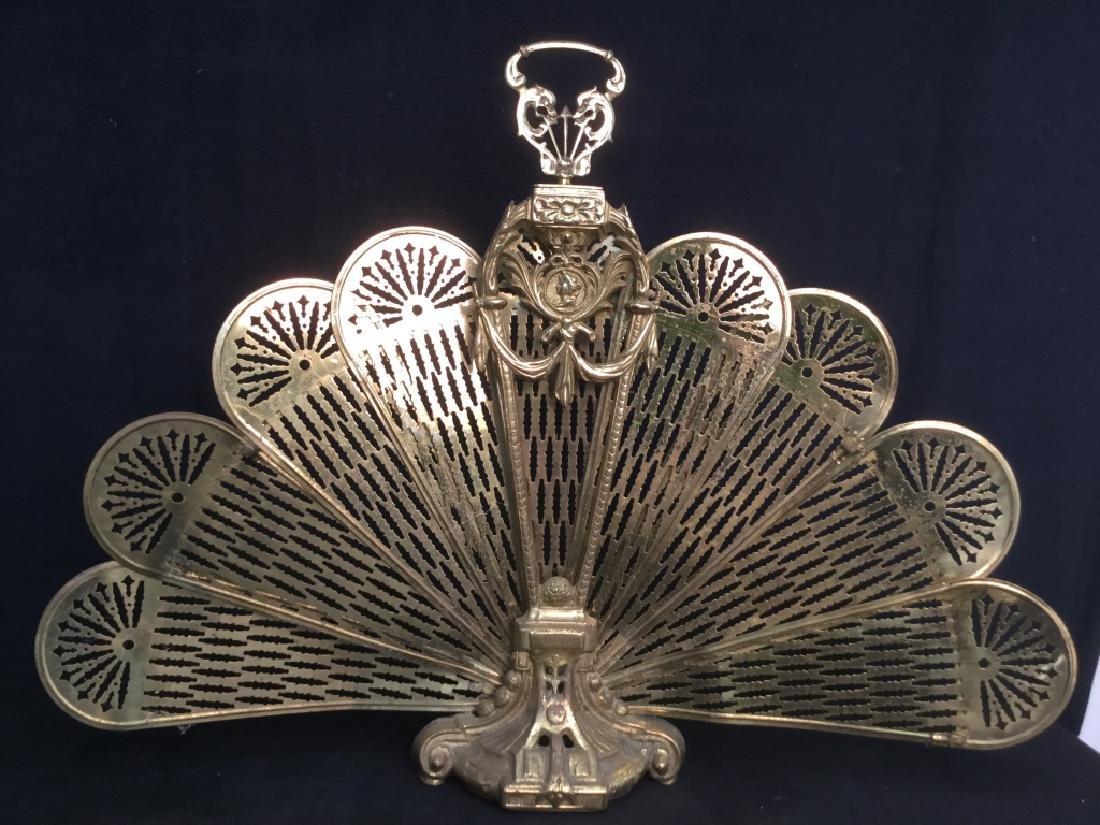 Victorian Brass Fireplace Ornament Screen - 2