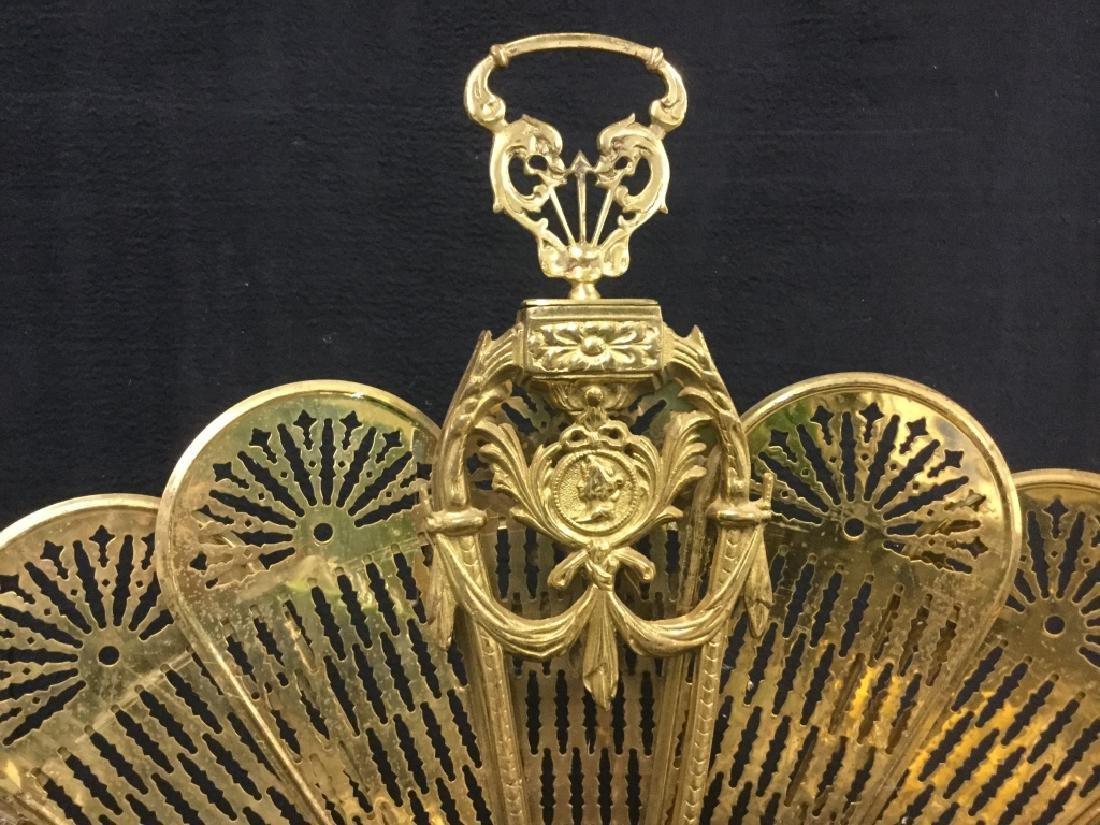 Victorian Brass Fireplace Ornament Screen - 3