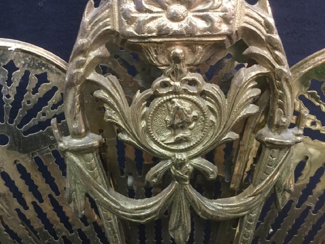 Victorian Brass Fireplace Ornament Screen - 5
