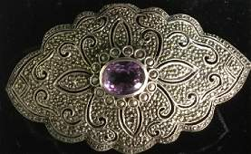 Intricate Amethyst Marcasite Art Deco Sterling Pin