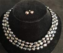 Opalescent Pearl Necklace Set